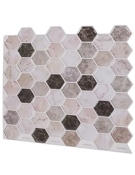 hexagon peel and stick vinyl backsplash